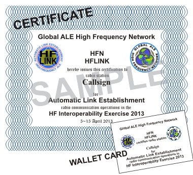 HFIE HF Interoperability Exercise 2013 - Sample Certificate