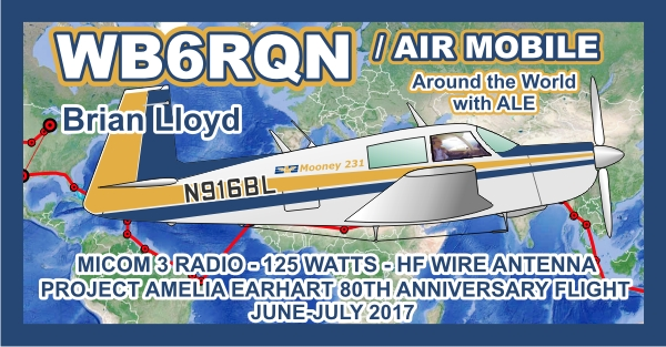Brian Lloyd WB6RQN HF Radio Flight Route Map