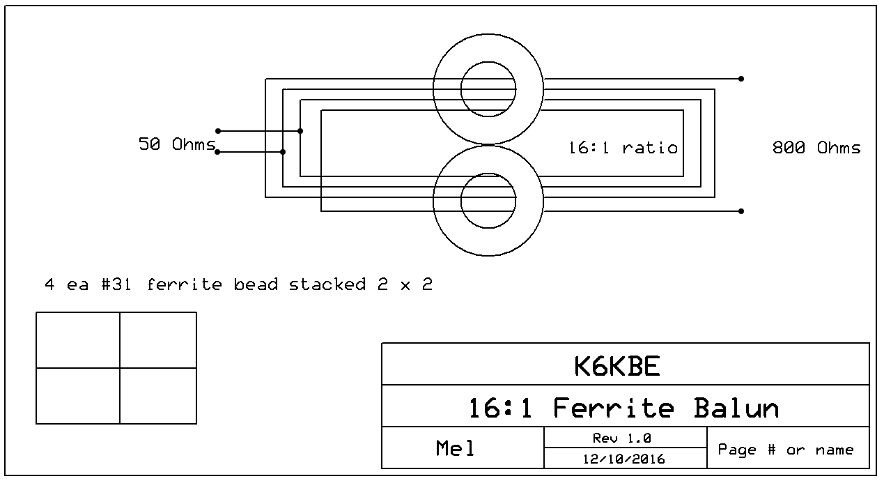 Schematic of 16:1 Balun by Mel K6KBE