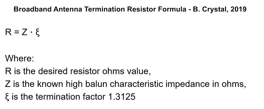 B. Crystal: Broadband Antenna Termination Resistor Formula