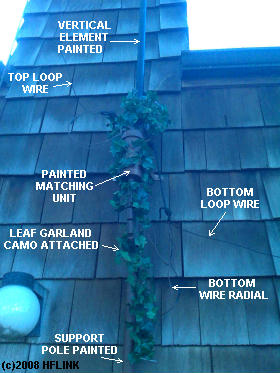 Broadband VertaLoop after camouflage paint and leaf garland added