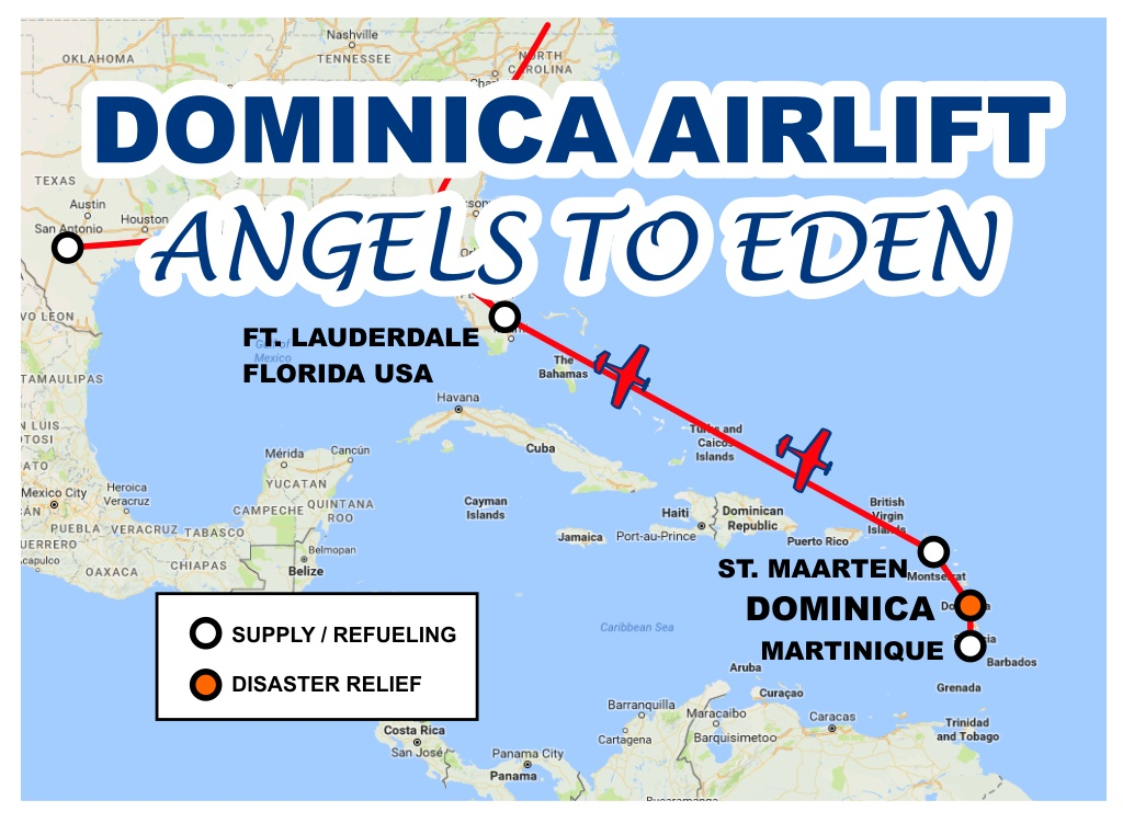 Map of       Dominica Airlift - Angels To Eden