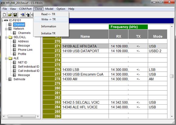 HFLINK Icom CS-8101 Programming