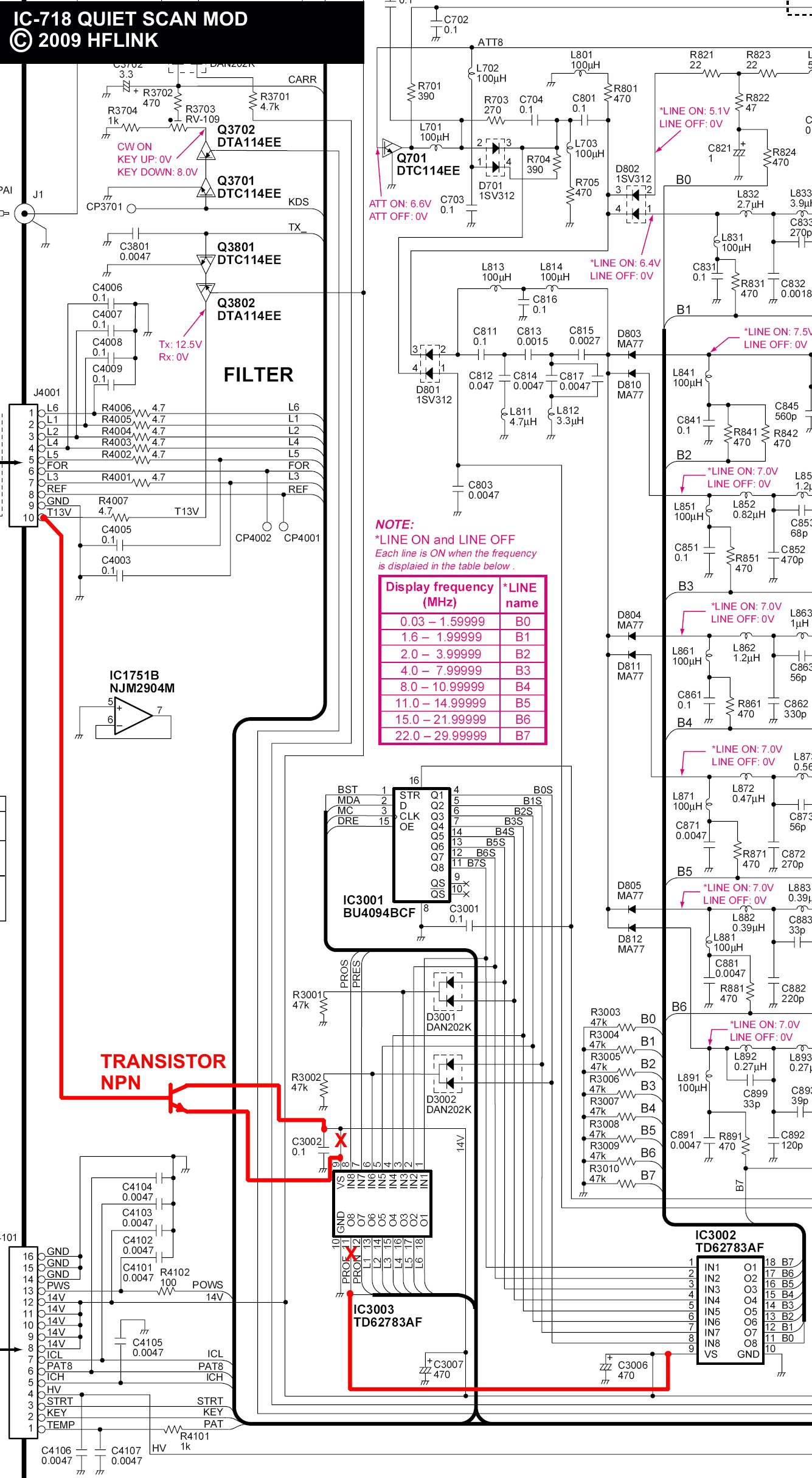 IC-718 Quiet Scan Mod Schematic