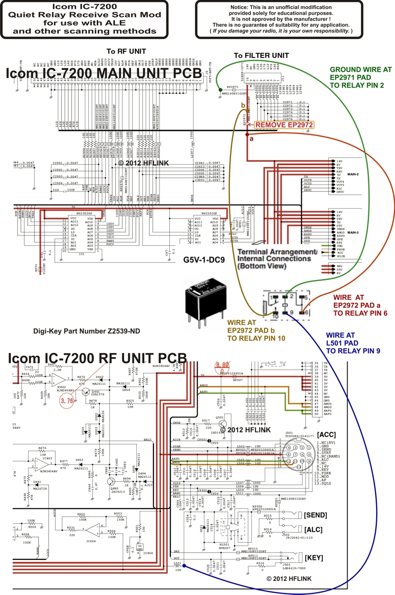 Icom IC-7200 Quiet Relay Receive Scan Mod