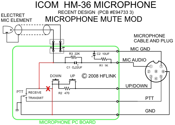 hflink icom hm 36 microphone mute mod for hf automatic link establishment ale