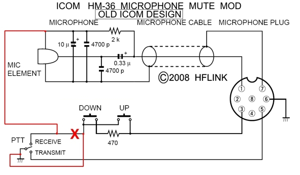 hflink icom hm 36 microphone mute mod for hf automatic link note 2 be careful not to press the up or down buttons while you are transmitting because the up down buttons are no longer inhibited during transmit