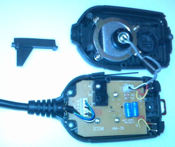 hflink icom hm 36 microphone mute mod for hf automatic link disassemble the microphone enclosure by removal of screws