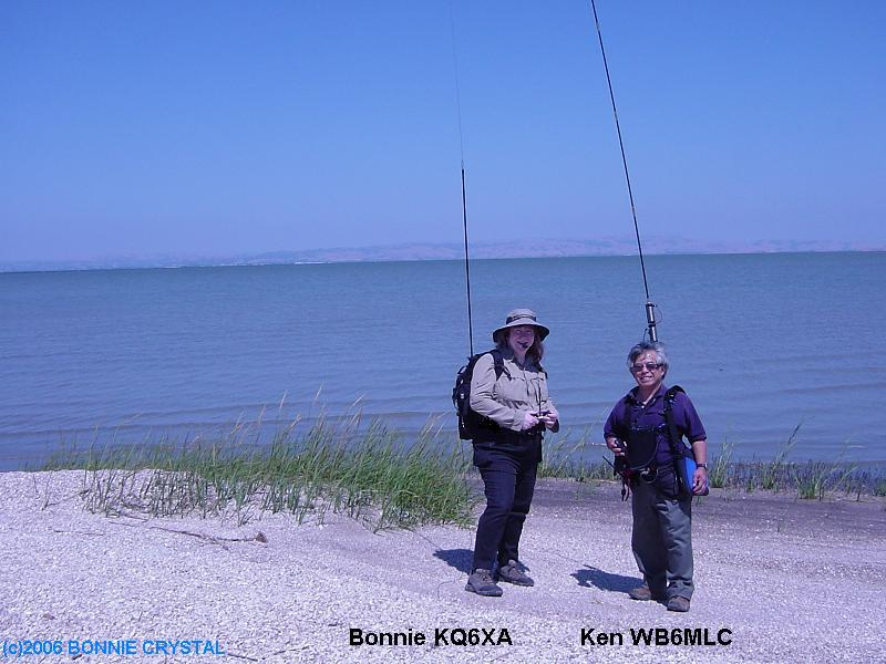 Bonnie KQ6XA/PM operating Pedestrian Mobile HF with friend Ken WB6MLC/PM