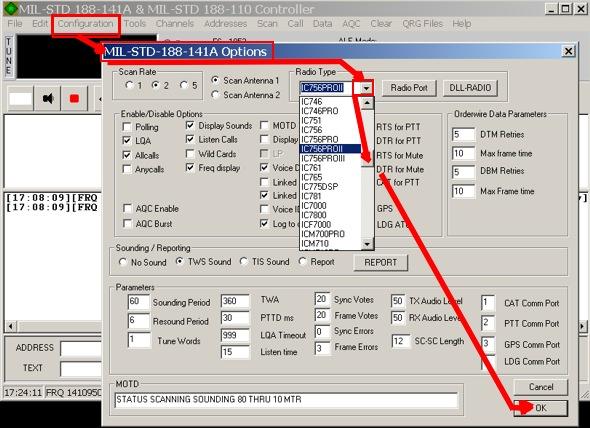 PCALE Configure Radio Type
